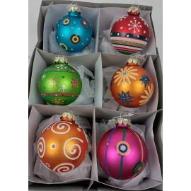 Set van 6 Kerstballen Multicolor Bont 3
