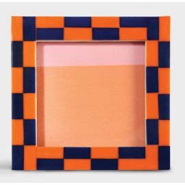 Fotolijst Check Vierkant Oranje Blauw