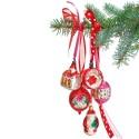 Flat Flowers Kerst rode Retro Kerstballen