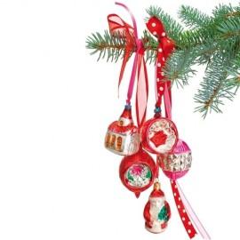 Raamsticker Kerst rode Retro Kerstballen
