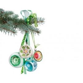 Raamsticker Kerst groene Retro kerstballen