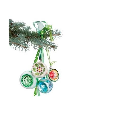 Flat Flowers Kerst groene Retro kerstballen