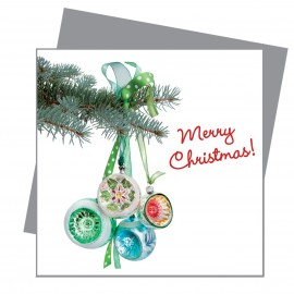 Greetings Retro Kerstballen Groen Flat Flowers