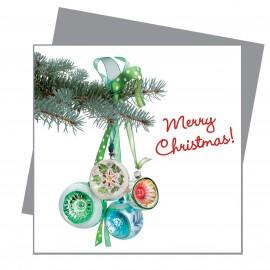 Greetings Retro Kerstballen Groen Flat Flowers