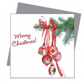 Greetings Retro Kerstballen Rood Flat Flowers