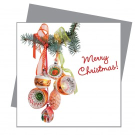 Greetings Retro Kerstballen Oranje Flat Flowers