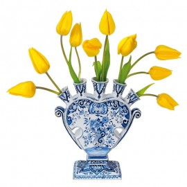 Flat Flowers Delfts blauwe vaas met gele tulpen