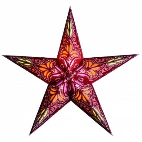 Papieren Kerstster Jaipur Rood-/Oranje