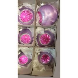 Set van 6 Retro Kerstballen met Deuk Paars-/Roze