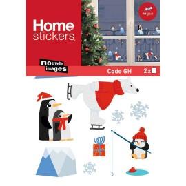 Raamstickers Kerst Schaatsende IJsbeer & Pinguins