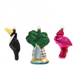 Retro KertballenTropical Ornaments set van 3