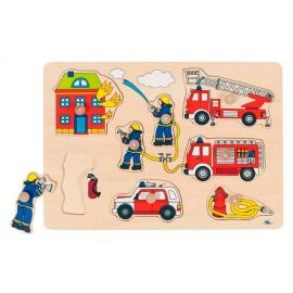 Houten Puzzel Bij de Brandweer - Goki