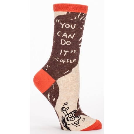 Hippe Dames Sokken-You can Do it -- Coffee